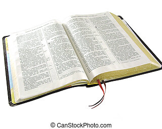 Bible - On a photo the Bible, with the marked key verses on...