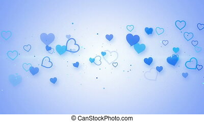 blue elegant hearts seamless loop animation
