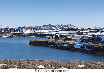 Myvatn Volcano - Winter Scene at in Myvatn Lake and Volcano,...
