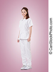 Attractive Asian nurse, woman portrait against white...