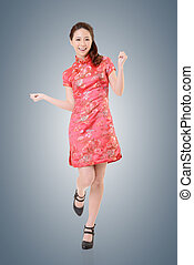 cheongsam woman - Smiling Chinese woman dress traditional...
