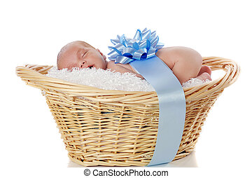 Precious Baby Boy - A sleeping newborn boy in a fluff-lined...
