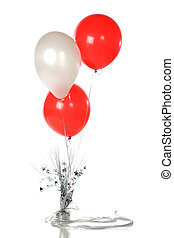 Party Balloons - Three red and white helium party ballons...