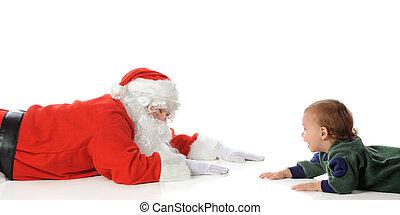 Santa Playing with Toddler