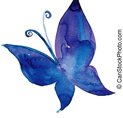 butterfly - drawing of blue butterfly in a white background