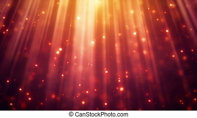 festive glitter particles in light rays loopable background...