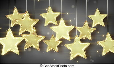 gold hanging stars christmas lights loop