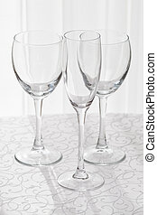 Line of empty wine glasses - Wine glasses served at the...