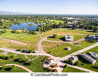 Large park - Aerial view of Belmar Park in Lakewood Colorado...