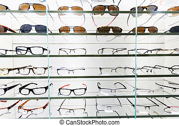 glasses displayed