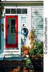 halloween door to welcome the trick or treaters