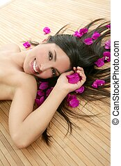 Beautiful indian woman portrait in a beauty spa with...