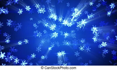 glowing falling snowflakes seamless loop winter background -...
