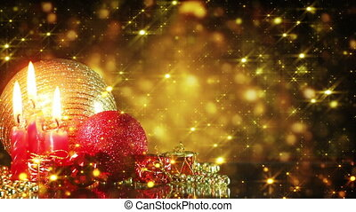 christmas decorations and gold glitter particles loop -...