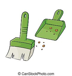 Brush And Dustpan - Vector illustration of a small broom and...
