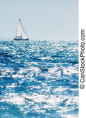 Seascape with yacht - Sparkling summer sea with sunlight...