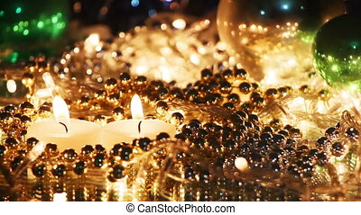 burning candles and christmas decoration seamless loop