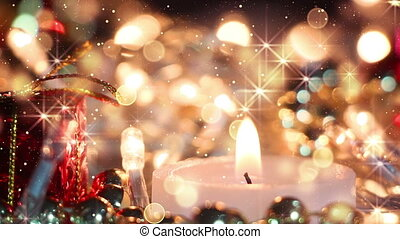 candle and glitter particles loopable christmas background