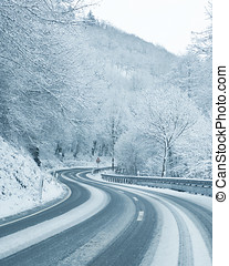 Winter Driving - Snowy Country Road - Curvy snowy country...
