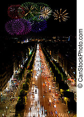 Champs Elysees at night and fireworks - Famous boulveard...