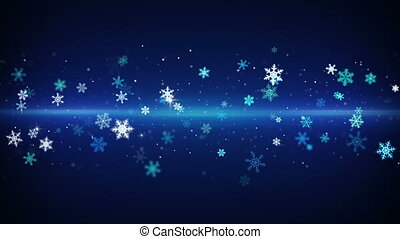 blue light stripe and snowflakes loopable animation - blue...