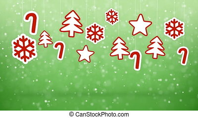 hanging christmas decoration and snowfall loopable background