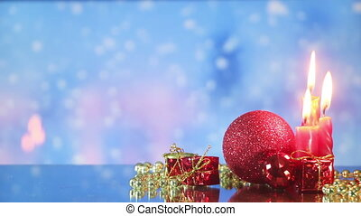 christmas decorations and snowfall loopable background