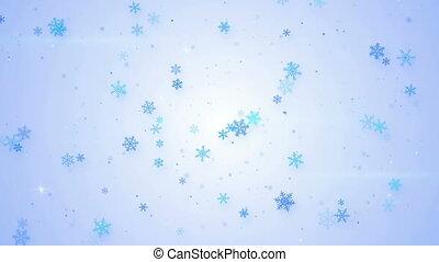 light blue snowfall seamless loop animation