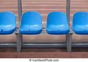 Stadium seats for substitutes and trainer in a football...