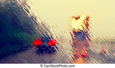 Construction Site - Bad weather driving - highway...