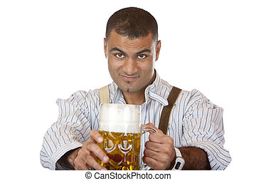 Sexy attractive man with lederhose holds Oktoberfest beer...