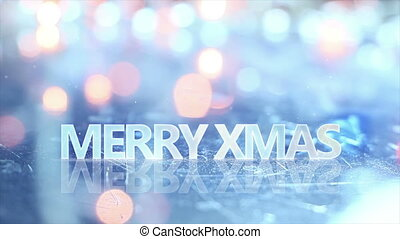 merry christmas text and blinking lights seamless loop
