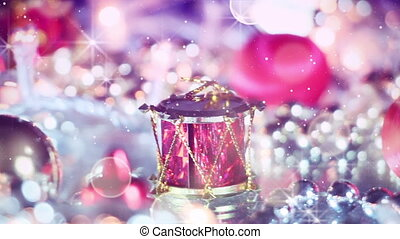 romantic christmas decoration panning macro