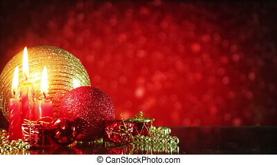 christmas decorations and snowfall on red background loop