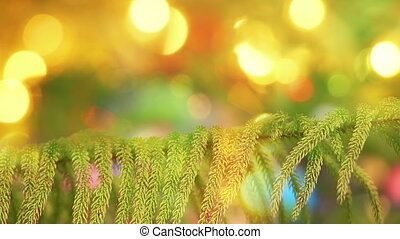 branch of fir tree and defocused christmas lights