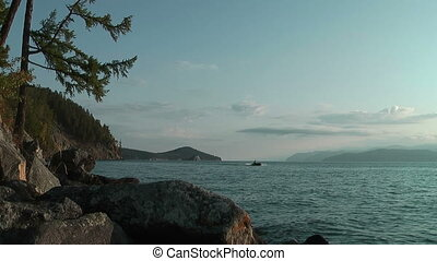 Speedboat on Baikal lake