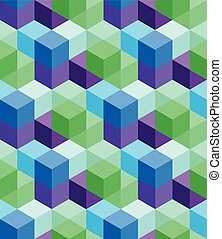Vector seamless pattern of colorful volumetric cubes