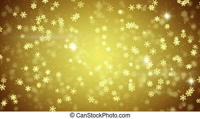golden snowfall glowing snowflakes seamless loop