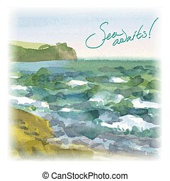 Vector background seascape - Vector image of sea waves...
