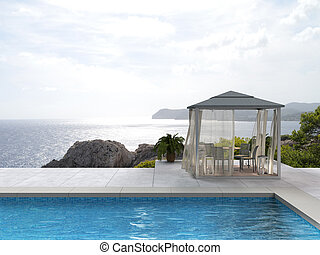 swimming pool with view to the sea - pavilion by the pool...