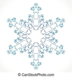 Rosette ornament - Vector delicate snowflake on a white...