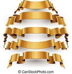 Gold Glossy vector ribbons set