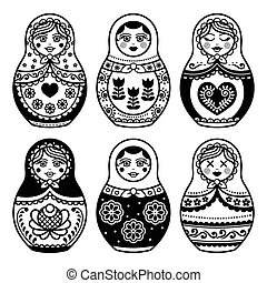 Matryoshka, Russian doll icons set - Russian folk art -...