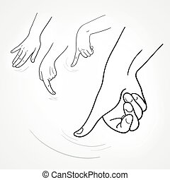 rub hands icon - set of vector images of hands in the manner...