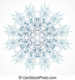 Rosette ornament - Vector snowflake flowers of lilies on a...