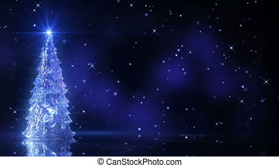 christmas tree and falling stars loop