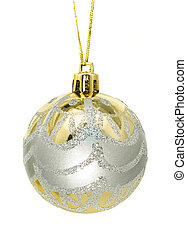 Christmas greetings - silver and gold decoration bauble...