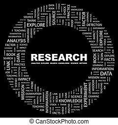 RESEARCH. Word cloud illustration. Tag cloud concept...