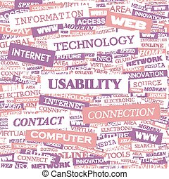 USABILITY Word cloud concept illustration Wordcloud collage...