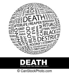 DEATH. Word cloud concept illustration. Wordcloud collage.